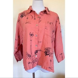 Chico's Coral Linen Animal Sketch Blouse L 12